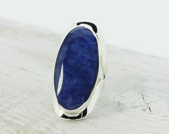 Indigo Blue sodalite stone ring oval shape cabochon set on 925e sterling silver Oval ring for her sodalite blue color ring designer ring
