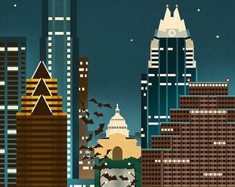 Austin, Texas - Retro Skyline (Art Prints available in multiple sizes)
