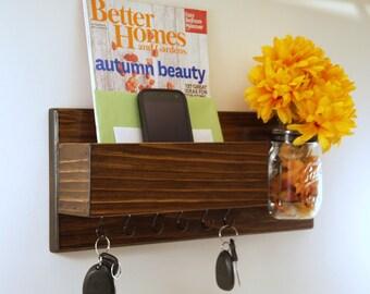 Rustic Key Rack-Mail Organizer-Mason Jar Vase-Housewarming- Dark Walnut Finish