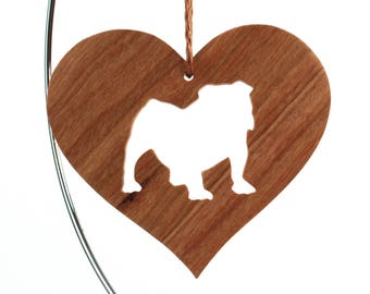 English Bulldog Ornament, Dog Silhouette Heart Christmas Decoration, Dog Breed Pet Memorial, Cherry