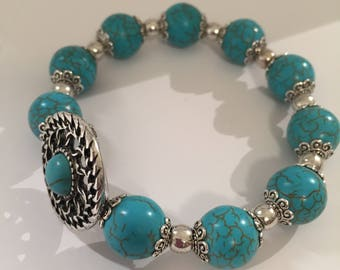 Turquoise Silver Bracelet, Howlite Stone Bracelet, Expandable Bracelet, Cheap Bracelet