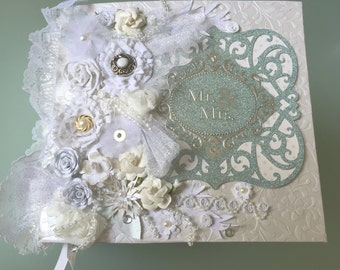 Handmade Wedding Scrapbook Album Neutrals Custom