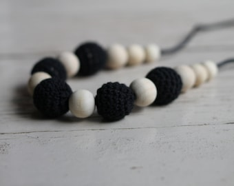Black Crochet Wood Bead Necklace ~ Teething Necklace ~ Nursing Necklace