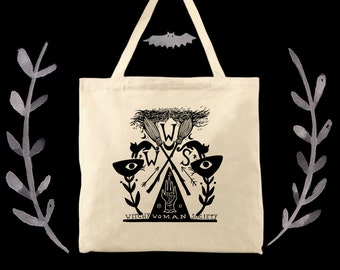 Witchy Woman Society eco friendly cotton canvas witch tote