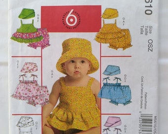 McCalls Pattern M5610 Infant Tops Panties & Hat Size S, M, L, XL 13-29 lbs sewing