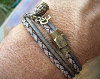 Leather Double Wrap Bracelet with Om and buddha Head Charms with Brass Magnetic Clasp, Mens Bracelet,Womens Bracelet,Om,Buddha, Namaste,Yoga