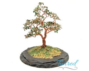Miniature Wire Tree Sculpture with Enameled Leaves