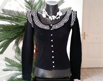 Black jacket knit jersey with frills