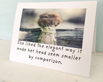 "Adventures of Claudia Porcelain Doll Notecard ""She Liked The Elegant Way"" Typographic Card Funny Stationary"