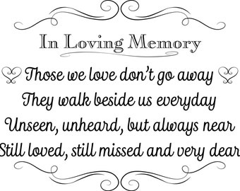 Printable Wedding Sign, In Loving Memory, Instant Download, 3 sizes, Transparent Background, PNG