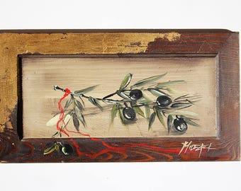Original Olive Branch Painting on Wood, Greek olive tree art, Wall art on wood, Nature art, Rustic Home decor, ancient greek, Greece