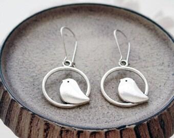Silver Bird Earrings | Silver Earrings | Woodland Jewelry