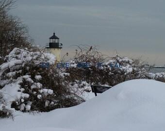 Fort Pickering Light snowy scene 5x7 photo greeting card