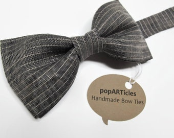 Linen Bow Tie - Black and Tan Bow Tie - Striped Bow Tie - Men's Bow Tie - Striped Linen Bow Tie - Pre-Tied Bow Tie