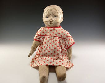 """Rare Blue Eyed Antique Vintage 14"""" Doll  Composition and Fabric"""