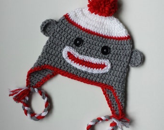 Sock Monkey Hat - Baby to Adult sizes available - Classic Sock Monkey Hat for the whole family - Winter Hat - Animal Hat - Newborn to Adult