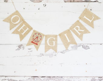 Carnival Baby Shower Banner, Ferris Wheel Baby Shower Decoration, Carnival Oh Girl Banner, Circus Oh Girl Garland, B850