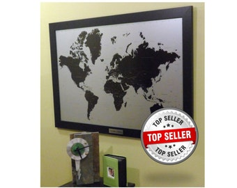 Modern Silver Push Pin World Travel Map With Personalized Aluminum Plate