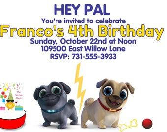 Puppy Dog Pals Invitations , Rolly, Bingo, Disney Junior