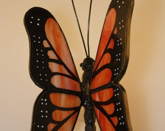 Stained Glass Monarch Butterfly Suncatcher Hand-Painted - Made to Order (MON002)