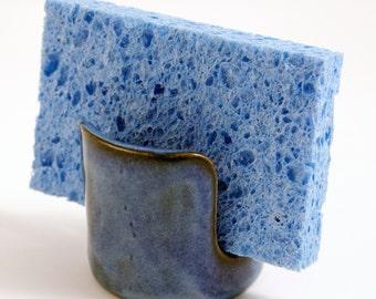 Kitchen Sponge Holder in Shades of Blue Lagoon
