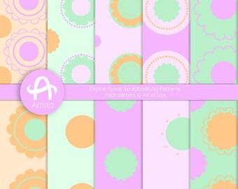 Digital Download Patterns Printable Digi Paper Purple Green Orange JPEG