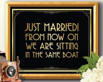 Just married sign, just married, just married banner, art deco just married, gatsby just married sign, just married gold sign, married