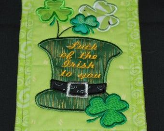 St. Patrick's Day Mug Rug or coaster, Green, Leprecaun, Four Leaf Clover