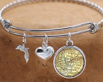 Tampa Florida Map FL State Charm Bangle Bracelet Personalized Custom Vintage Map Jewelry Stainless Steel Bracelet