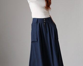 Blue linen skirt, navy blue skirt, maxi skirt, linen skirt, summer skirt, womens long skirt, ethic skirt, skirt with pockets  (1036)
