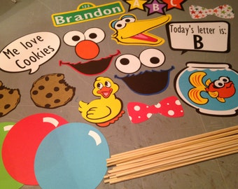 18 pc Sesame Street photo booth props, Sesame Street party, Photo props