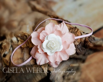 Pink Baby Headband, Small Newborn Headband, Newborn Photo Prop, Rose Baby Headband, White Rose Baby Headband, Baby Shower Gift