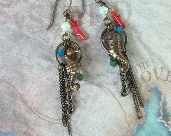 Brass Seahorse Earrings, Chain Earrings, Swarovski Earrings, Turquoise Earrings, Red Coral Earrings, Beach Earrings, Seahorse Earrings