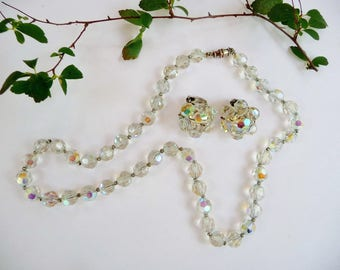 Vintage AB Glass Beaded Necklace and Earring Set, Aurora Borealis Beads, AB Clip Ons, Wedding Prom 1950's