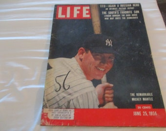 Vintage Life Magazine The Remarkable Mickey Mantle June 25 1956 Little Wear