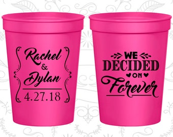Neon Pink Stadium Cups, Neon Pink Cups, Neon Pink Party Cups, Neon Pink Wedding Cups (386)