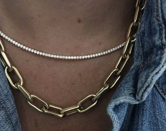 Diamond Cuve Bar Necklace - 4'' size 14k yellow, white, or rose