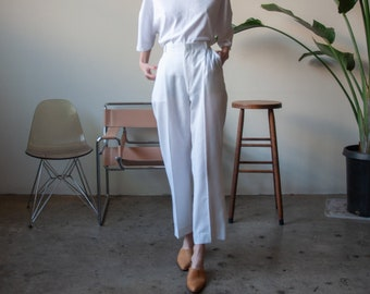 white woven linen blend cropped pants / pleated trousers / high waist trousers / 27 W / 1616t / B15