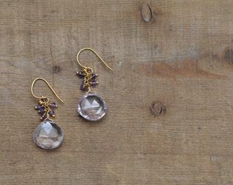 Amethyst Gemstone Cluster Earrings