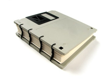 Recycled Floppy Disk Notebook, gift for geek, nerd, office gift, 90's gift