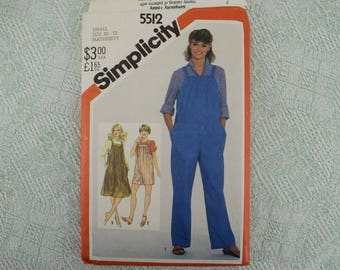 Simplicity Sewing Pattern 5512 maternity jumper jumpsuit from 1982 size 10 12