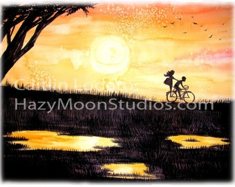 Watercolor Print of a couple riding a bike at sunset