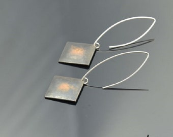 Earrings Squares Copper