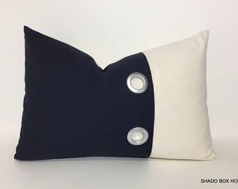 Colorblock lumbar navy pillow cover. 12x18 Grommet pleat accent on navy brushed canvas. dark blue home decor lumbar pillow cover
