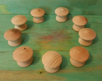 Wee wooden toadstools  raw. Set of 10