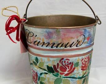 "Bucket Vase or Planter ""l'AMOUR"""
