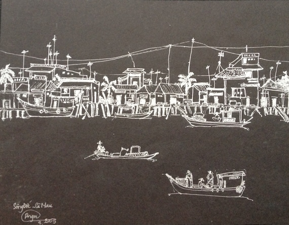 """BUSY WATER 11x9"""" Ink on Paper, Mekong Delta (Sông Đốc, Cà Mau Province) Original by Nguyen Ly Phuong Ngoc"""