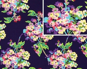 Amy Butler Fabric - Water Bouquet in Midnight - Love Collection - 100% cotton fabric by the yard - Designer quality floral print
