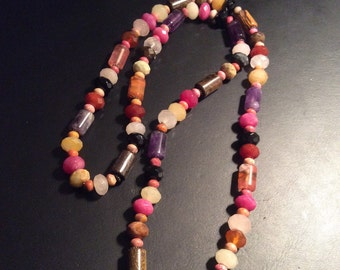 Bright Colorful Beads, All Natural Stone, Long Necklace, HandMade