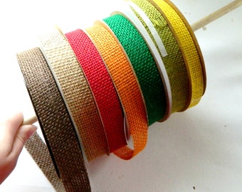 7/8 inch Burlap ribbon Jute ribbon in your choice of Brown, Natural, Red, Orange, Emerald, Apple Green, or Yellow